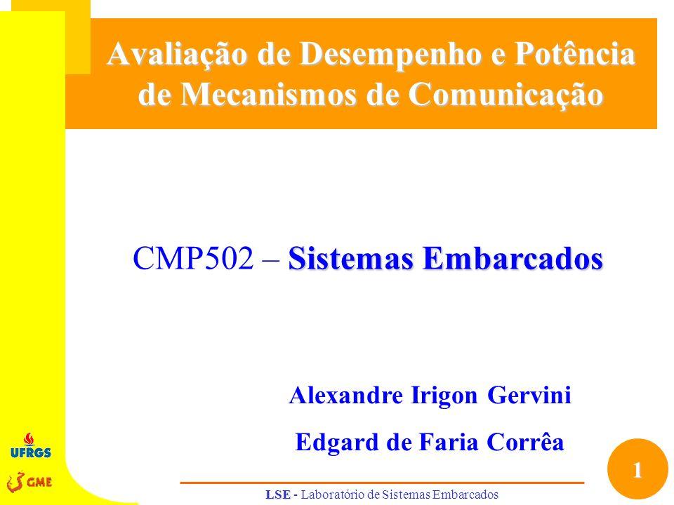 1 Sistemas Embarcados CMP502 – Sistemas Embarcados LSE LSE - Laboratório de Sistemas Embarcados Avaliação de Desempenho e Potência de Mecanismos de Co