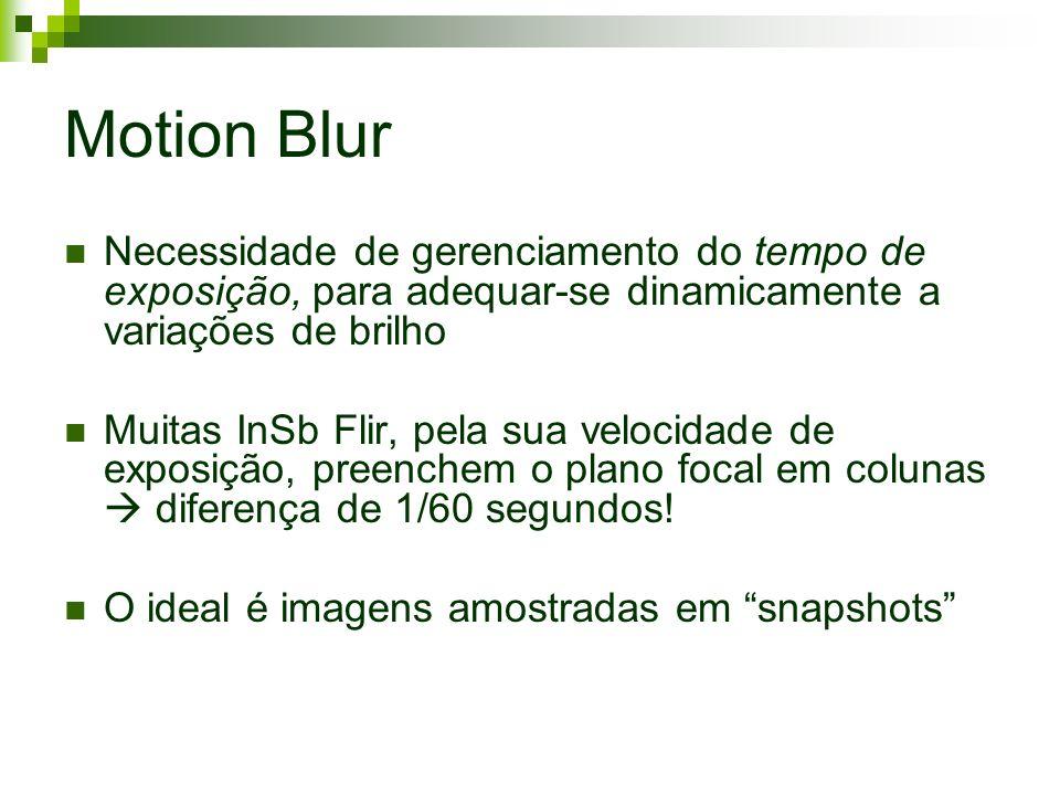 Motion Blur Necessidade de gerenciamento do tempo de exposição, para adequar-se dinamicamente a variações de brilho Muitas InSb Flir, pela sua velocidade de exposição, preenchem o plano focal em colunas diferença de 1/60 segundos.