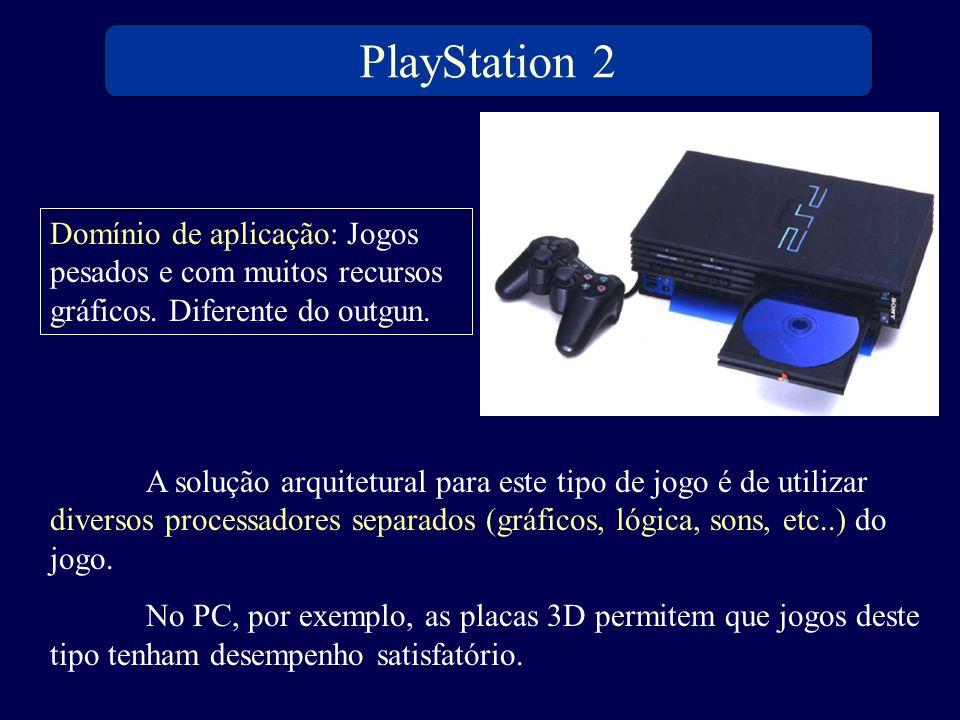 PlayStation 2 Domínio de aplicação: Jogos pesados e com muitos recursos gráficos. Diferente do outgun. A solução arquitetural para este tipo de jogo é