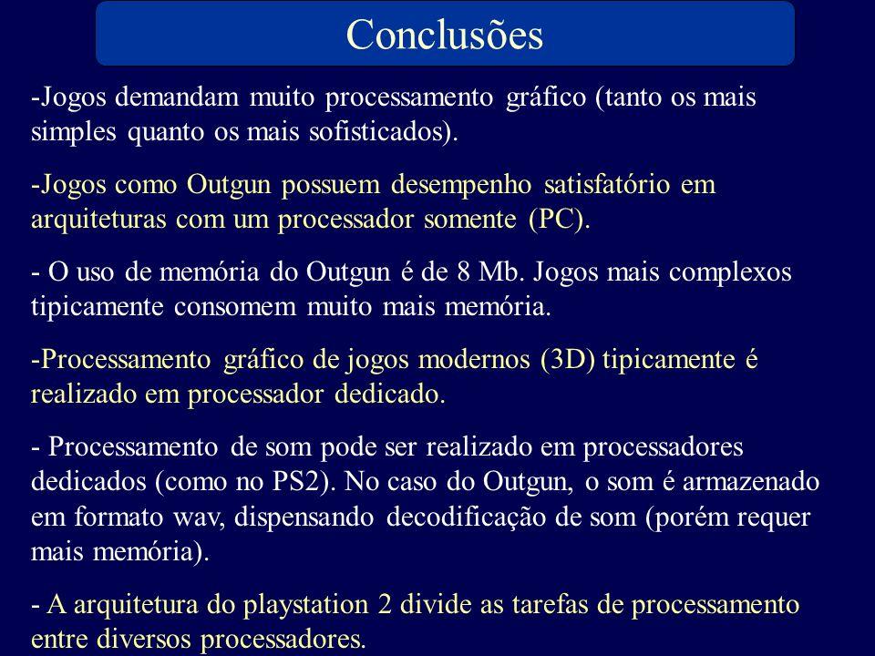 Conclusões -Jogos demandam muito processamento gráfico (tanto os mais simples quanto os mais sofisticados). -Jogos como Outgun possuem desempenho sati