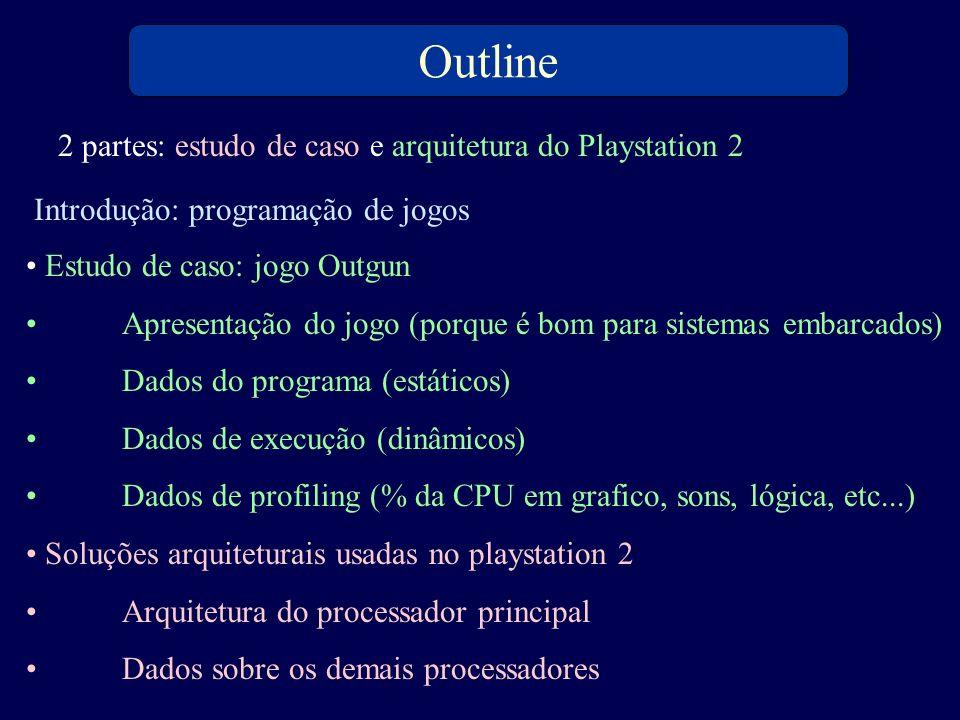 Estudo de caso: jogo Outgun Apresentação do jogo (porque é bom para sistemas embarcados) Dados do programa (estáticos) Dados de execução (dinâmicos) D