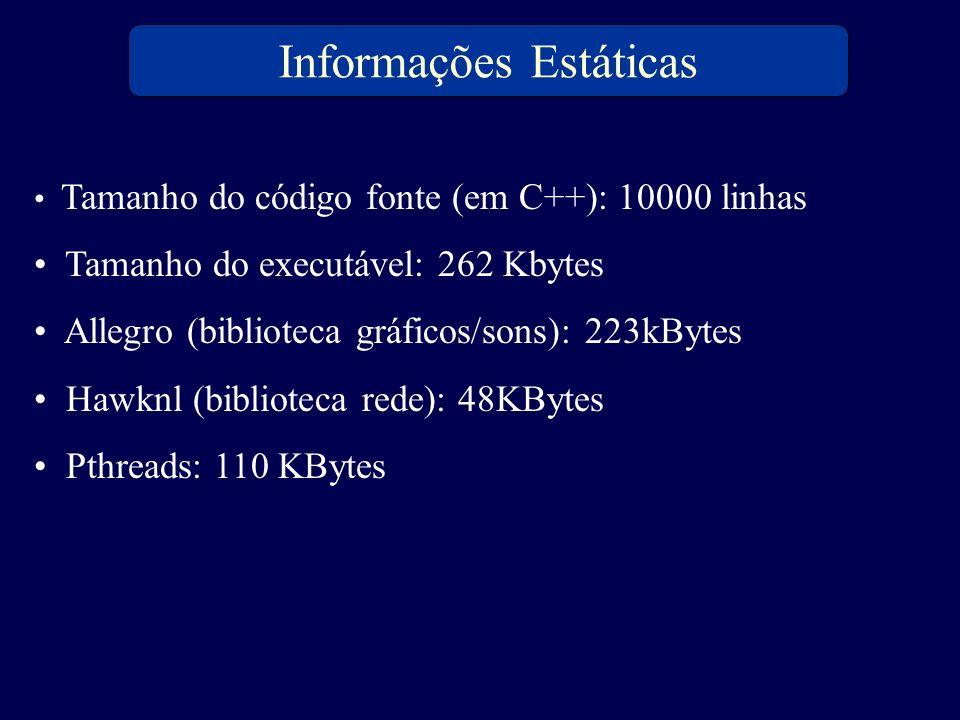 Tamanho do código fonte (em C++): 10000 linhas Tamanho do executável: 262 Kbytes Allegro (biblioteca gráficos/sons): 223kBytes Hawknl (biblioteca rede