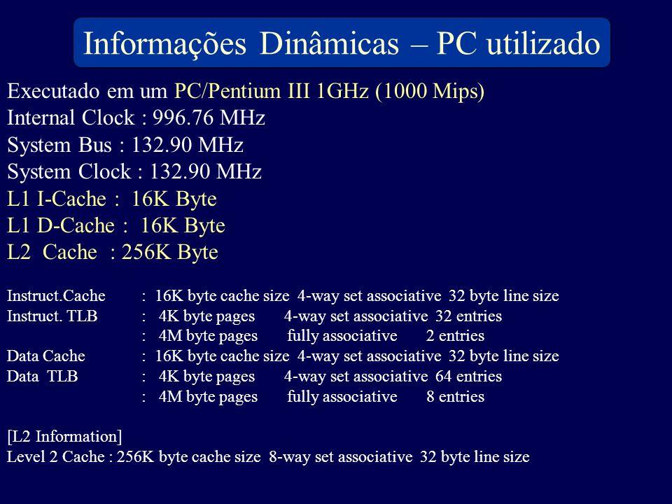 Executado em um PC/Pentium III 1GHz (1000 Mips) Internal Clock : 996.76 MHz System Bus : 132.90 MHz System Clock : 132.90 MHz L1 I-Cache : 16K Byte L1