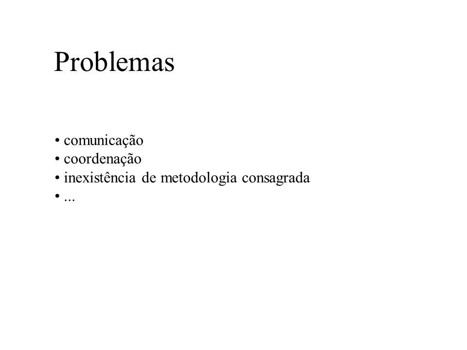 Problemas comunicação coordenação inexistência de metodologia consagrada...