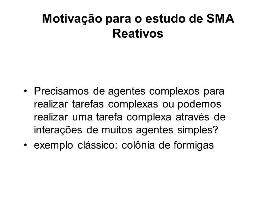 Motivação para o estudo de SMA Reativos Precisamos de agentes complexos para realizar tarefas complexas ou podemos realizar uma tarefa complexa atravé