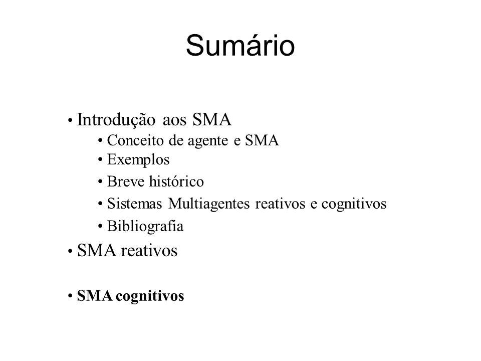 Sumário Introdução aos SMA Conceito de agente e SMA Exemplos Breve histórico Sistemas Multiagentes reativos e cognitivos Bibliografia SMA reativos SMA