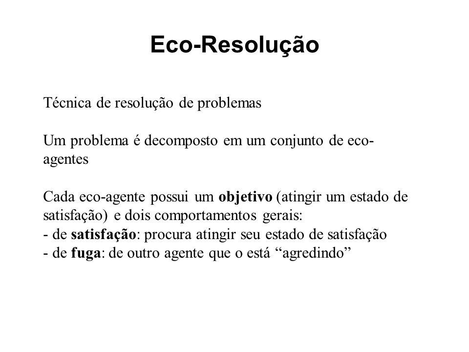 Eco-Resolução Técnica de resolução de problemas Um problema é decomposto em um conjunto de eco- agentes Cada eco-agente possui um objetivo (atingir um