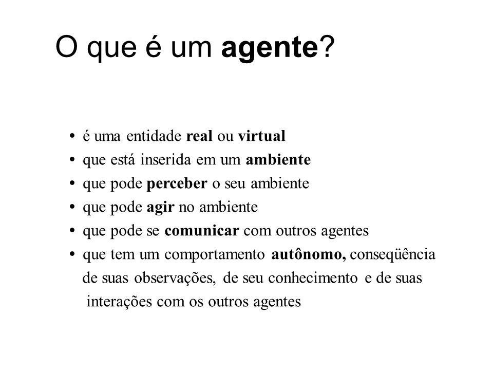 O que é um agente? é uma entidade real ou virtual que está inserida em um ambiente que pode perceber o seu ambiente que pode agir no ambiente que pode