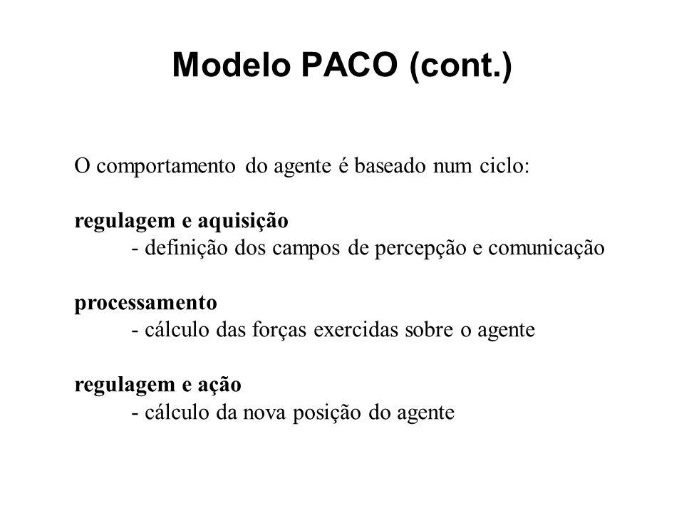 Modelo PACO (cont.) O comportamento do agente é baseado num ciclo: regulagem e aquisição - definição dos campos de percepção e comunicação processamen
