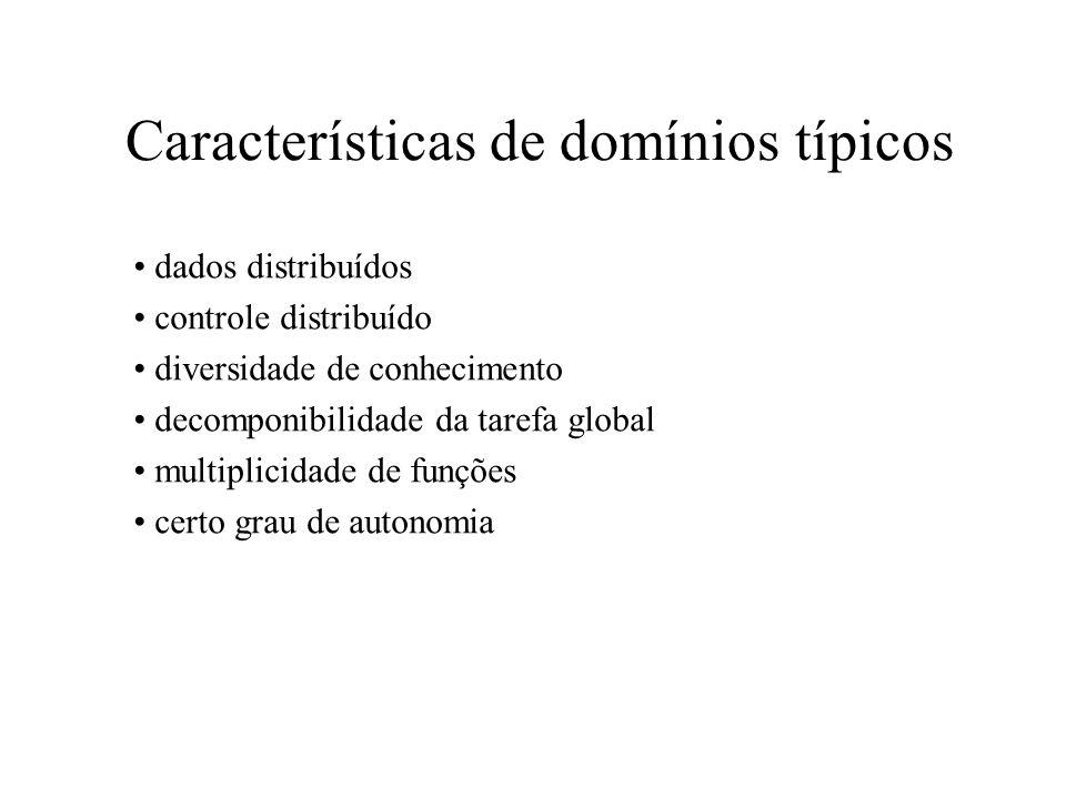Características de domínios típicos dados distribuídos controle distribuído diversidade de conhecimento decomponibilidade da tarefa global multiplicid