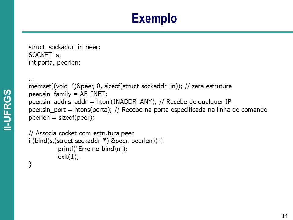 14 II-UFRGS Exemplo struct sockaddr_in peer; SOCKET s; int porta, peerlen; … memset((void *)&peer, 0, sizeof(struct sockaddr_in)); // zera estrutura peer.sin_family = AF_INET; peer.sin_addr.s_addr = htonl(INADDR_ANY); // Recebe de qualquer IP peer.sin_port = htons(porta); // Recebe na porta especificada na linha de comando peerlen = sizeof(peer); // Associa socket com estrutura peer if(bind(s,(struct sockaddr *) &peer, peerlen)) { printf( Erro no bind\n ); exit(1); }