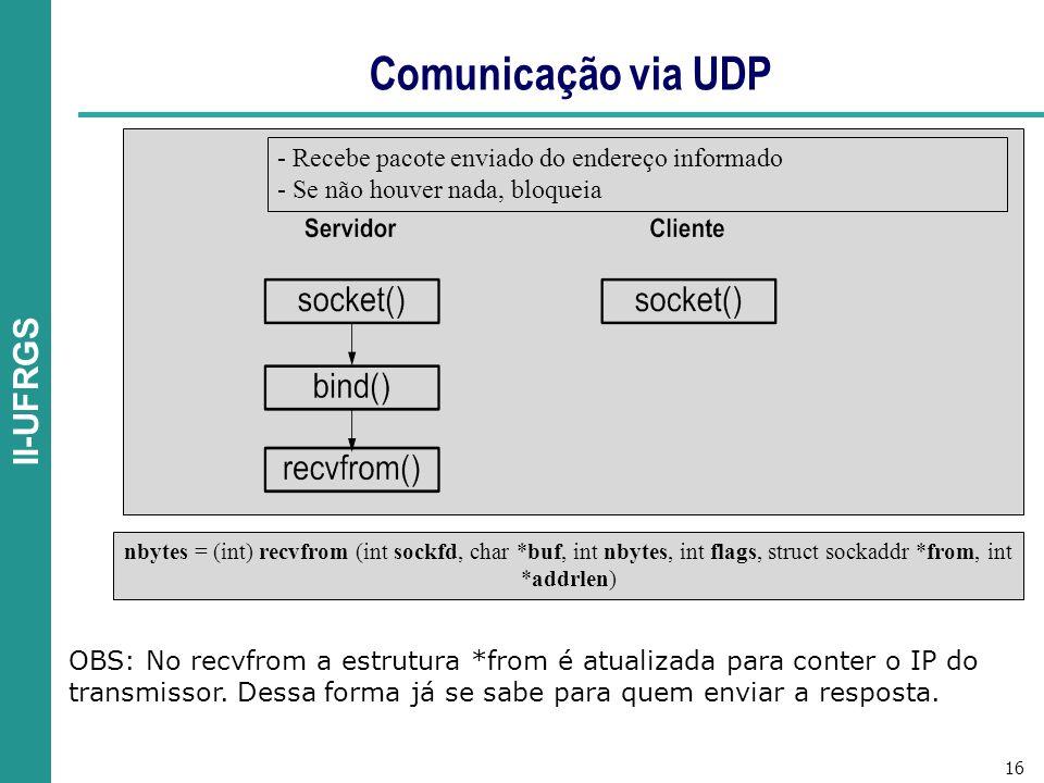 16 II-UFRGS Comunicação via UDP nbytes = (int) recvfrom (int sockfd, char *buf, int nbytes, int flags, struct sockaddr *from, int *addrlen) - Recebe pacote enviado do endereço informado - Se não houver nada, bloqueia OBS: No recvfrom a estrutura *from é atualizada para conter o IP do transmissor.