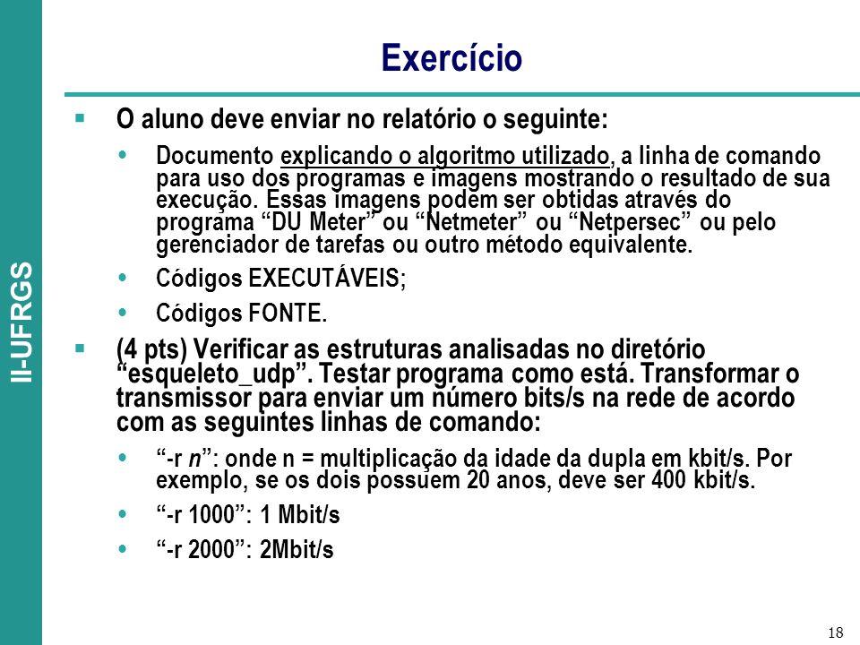 18 II-UFRGS Exercício O aluno deve enviar no relatório o seguinte: Documento explicando o algoritmo utilizado, a linha de comando para uso dos programas e imagens mostrando o resultado de sua execução.
