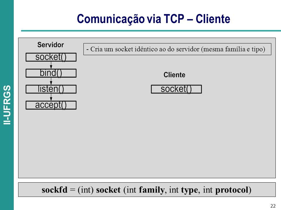 22 II-UFRGS Comunicação via TCP – Cliente sockfd = (int) socket (int family, int type, int protocol) - Cria um socket idêntico ao do servidor (mesma família e tipo)