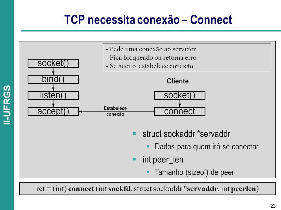 23 II-UFRGS TCP necessita conexão – Connect ret = (int) connect (int sockfd, struct sockaddr *servaddr, int peerlen) - Pede uma conexão ao servidor - Fica bloqueado ou retorna erro - Se aceito, estabelece conexão struct sockaddr *servaddr Dados para quem irá se conectar.