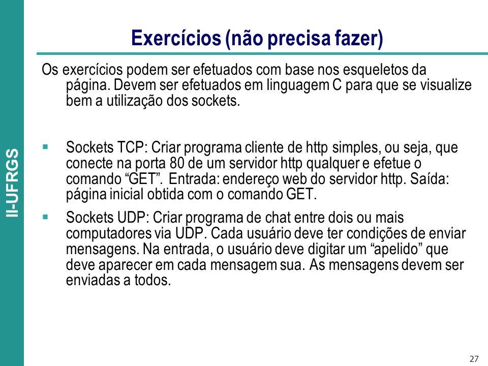 27 II-UFRGS Exercícios (não precisa fazer) Os exercícios podem ser efetuados com base nos esqueletos da página.
