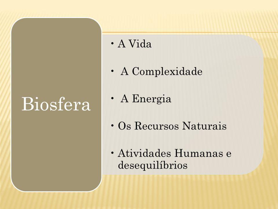 A Vida A Complexidade A Energia Os Recursos Naturais Atividades Humanas e desequilíbrios Biosfera