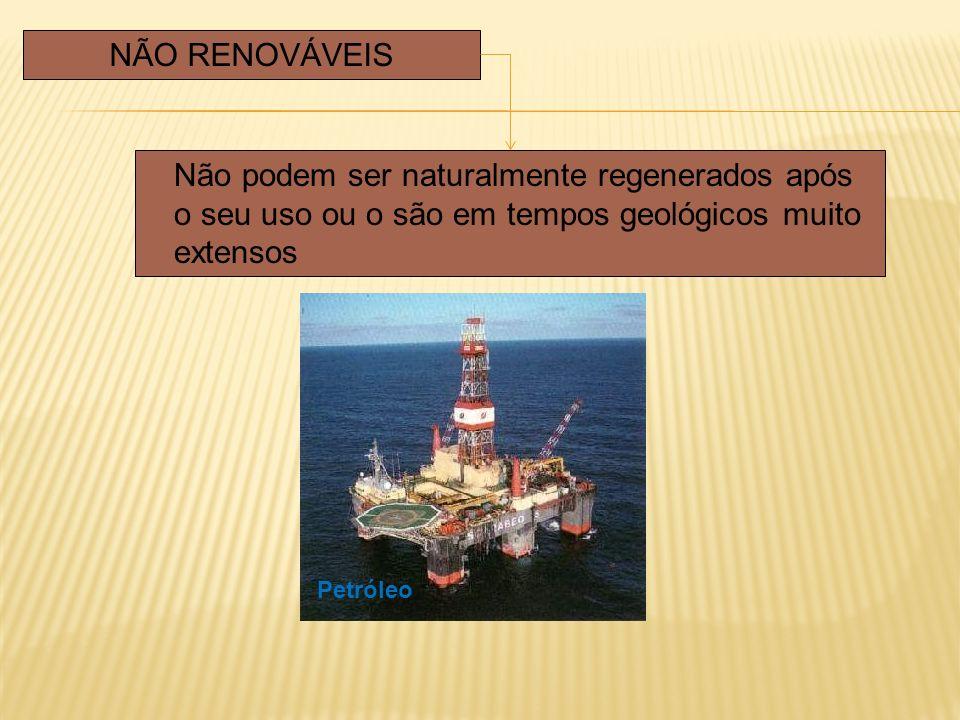 Não podem ser naturalmente regenerados após o seu uso ou o são em tempos geológicos muito extensos NÃO RENOVÁVEIS Petróleo