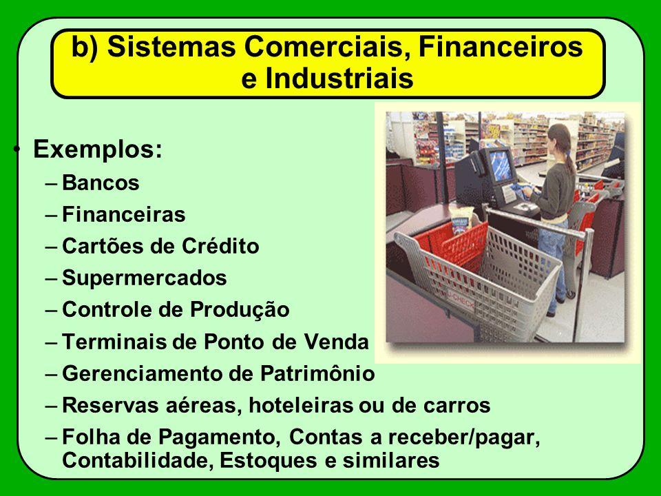 Exemplos: –Bancos –Financeiras –Cartões de Crédito –Supermercados –Controle de Produção –Terminais de Ponto de Venda –Gerenciamento de Patrimônio –Res
