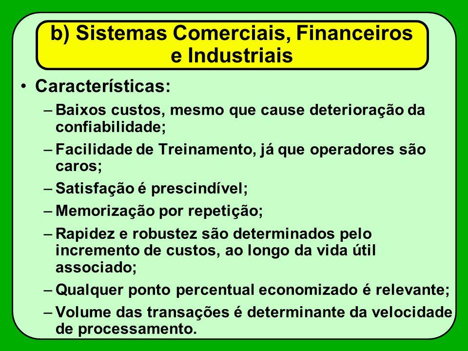 Características: –Baixos custos, mesmo que cause deterioração da confiabilidade; –Facilidade de Treinamento, já que operadores são caros; –Satisfação