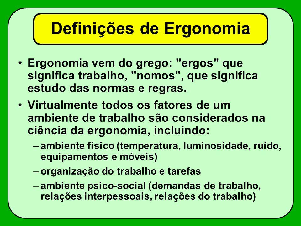 Definições de Ergonomia Ergonomia vem do grego: