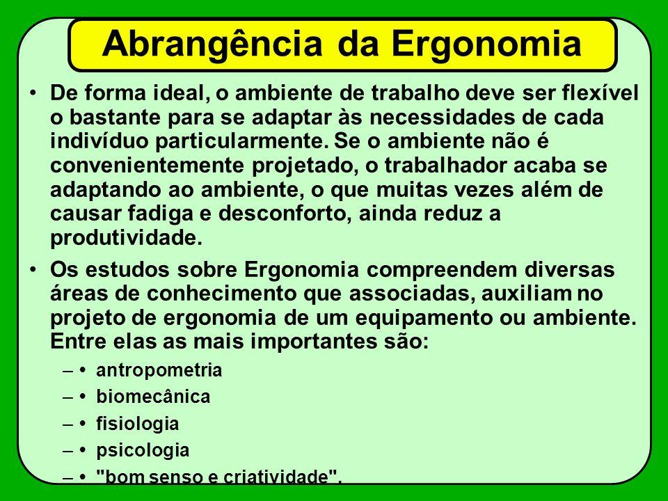 Abrangência da Ergonomia De forma ideal, o ambiente de trabalho deve ser flexível o bastante para se adaptar às necessidades de cada indivíduo particu