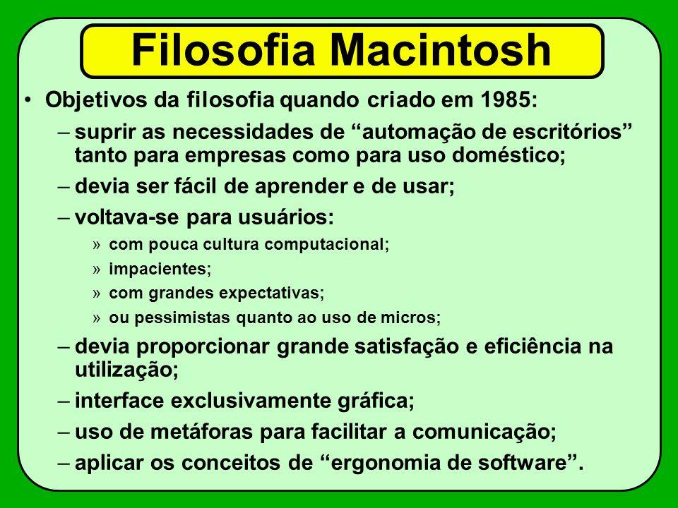 Filosofia Macintosh Objetivos da filosofia quando criado em 1985: –suprir as necessidades de automação de escritórios tanto para empresas como para us