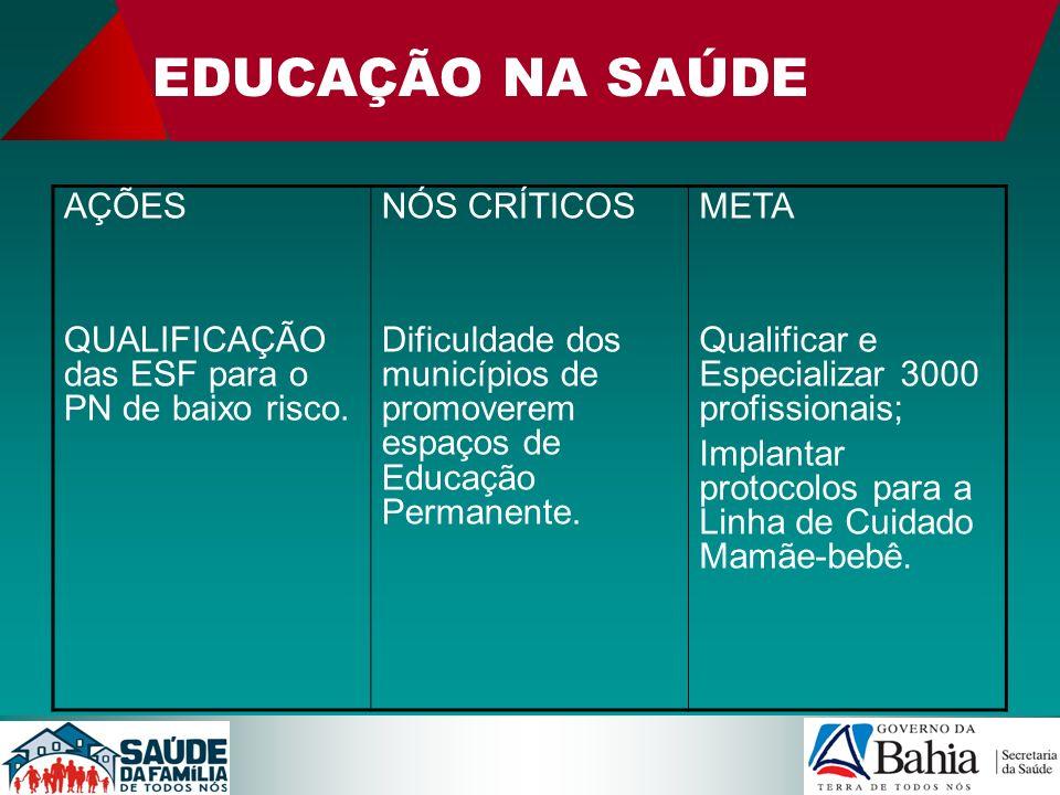 EDUCAÇÃO NA SAÚDE AÇÕES QUALIFICAÇÃO das ESF para o PN de baixo risco. NÓS CRÍTICOS Dificuldade dos municípios de promoverem espaços de Educação Perma