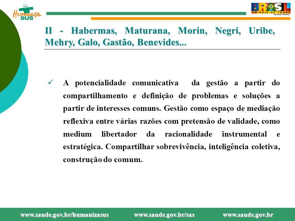 www.saude.gov.br/bvs/humanizacao www.saude.gov.br/humanizasus www.saude.gov.br/sas II - Habermas, Maturana, Morin, Negri, Uribe, Mehry, Galo, Gastão, Benevides...