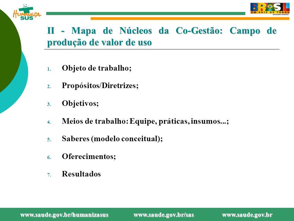 II - Mapa de Núcleos da Co-Gestão: Campo de produção de valor de uso 1.