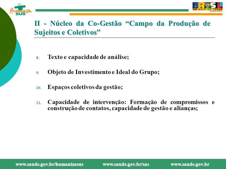II - Núcleo da Co-Gestão Campo da Produção de Sujeitos e Coletivos 8.