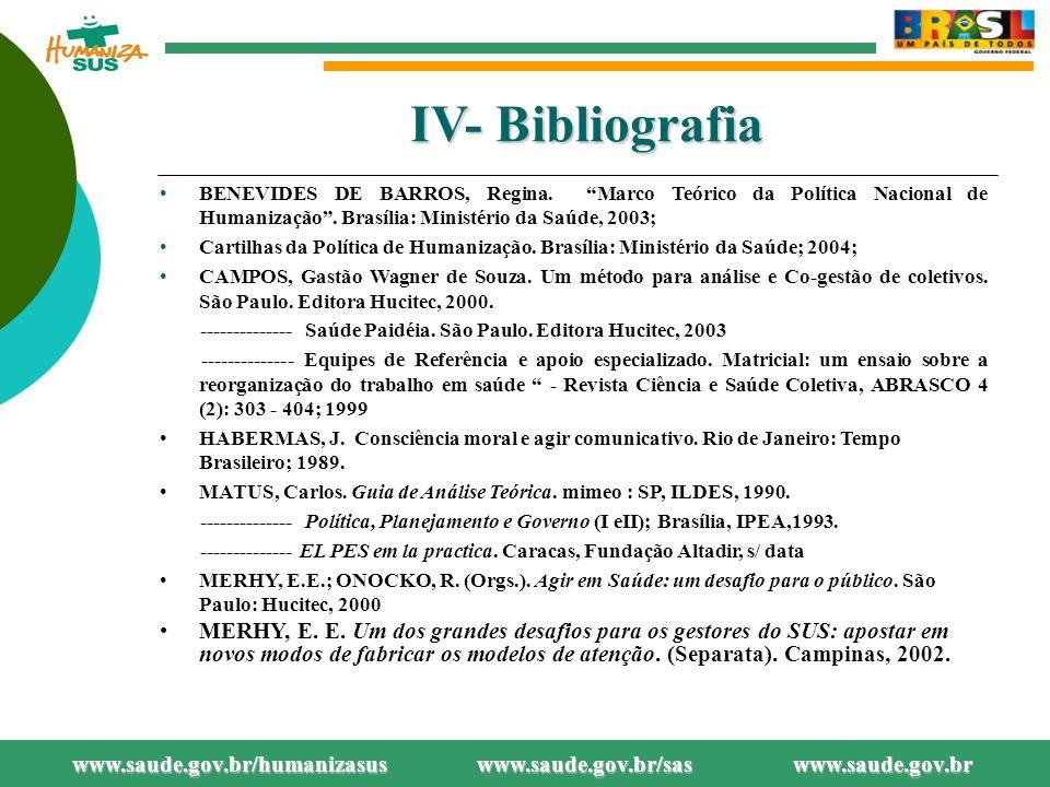 IV- Bibliografia BENEVIDES DE BARROS, Regina.Marco Teórico da Política Nacional de Humanização.