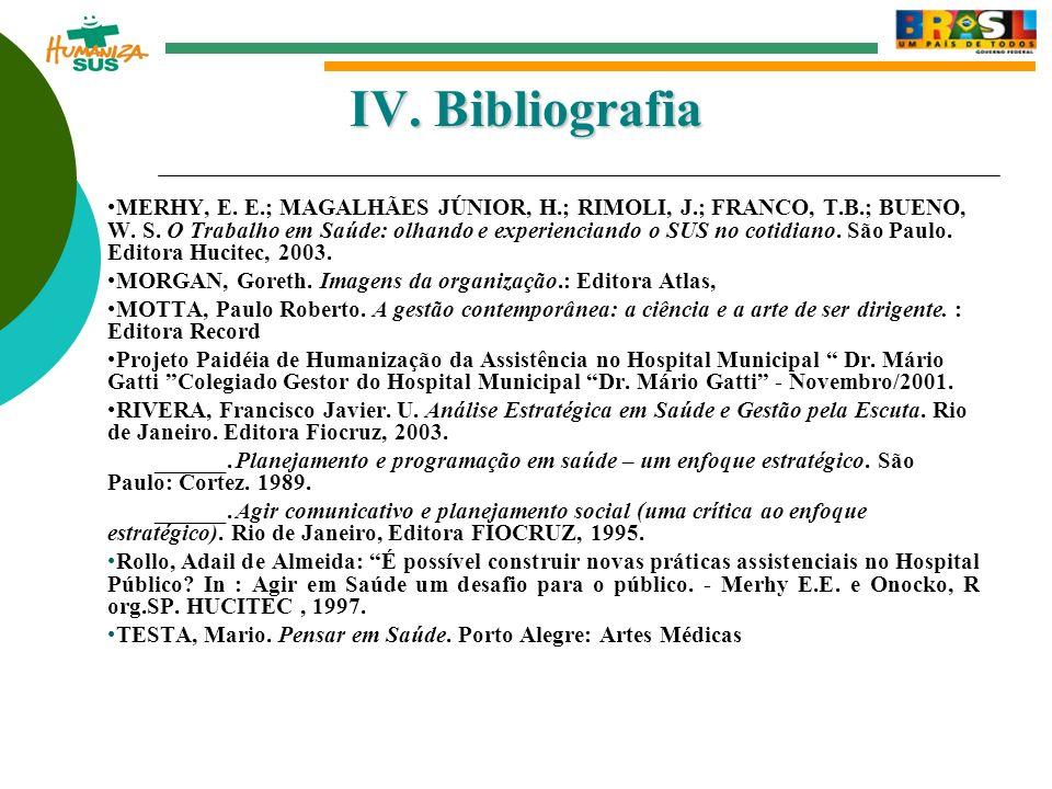 IV.Bibliografia MERHY, E. E.; MAGALHÃES JÚNIOR, H.; RIMOLI, J.; FRANCO, T.B.; BUENO, W.
