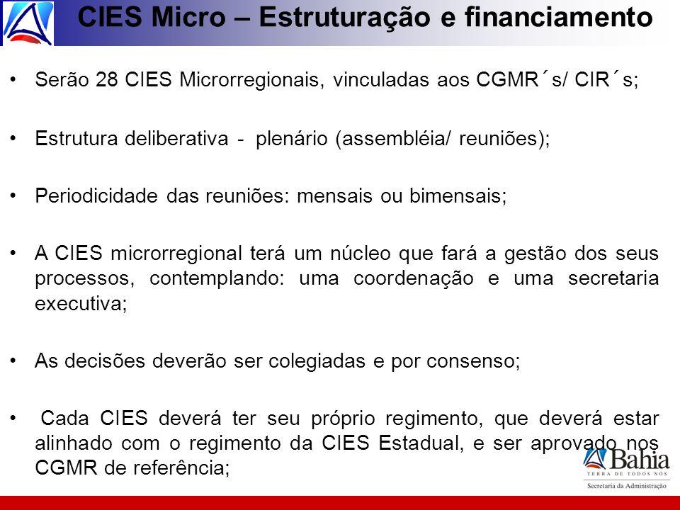 CIES Micro – Estruturação e financiamento Serão 28 CIES Microrregionais, vinculadas aos CGMR´s/ CIR´s; Estrutura deliberativa - plenário (assembléia/