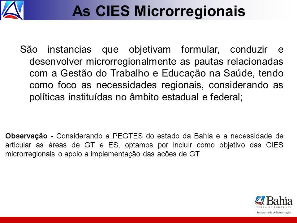As CIES Microrregionais São instancias que objetivam formular, conduzir e desenvolver microrregionalmente as pautas relacionadas com a Gestão do Traba