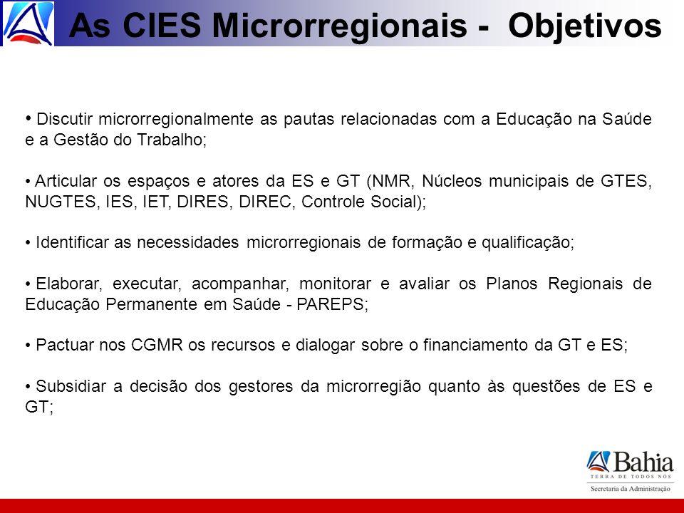 As CIES Microrregionais - Objetivos Discutir microrregionalmente as pautas relacionadas com a Educação na Saúde e a Gestão do Trabalho; Articular os e