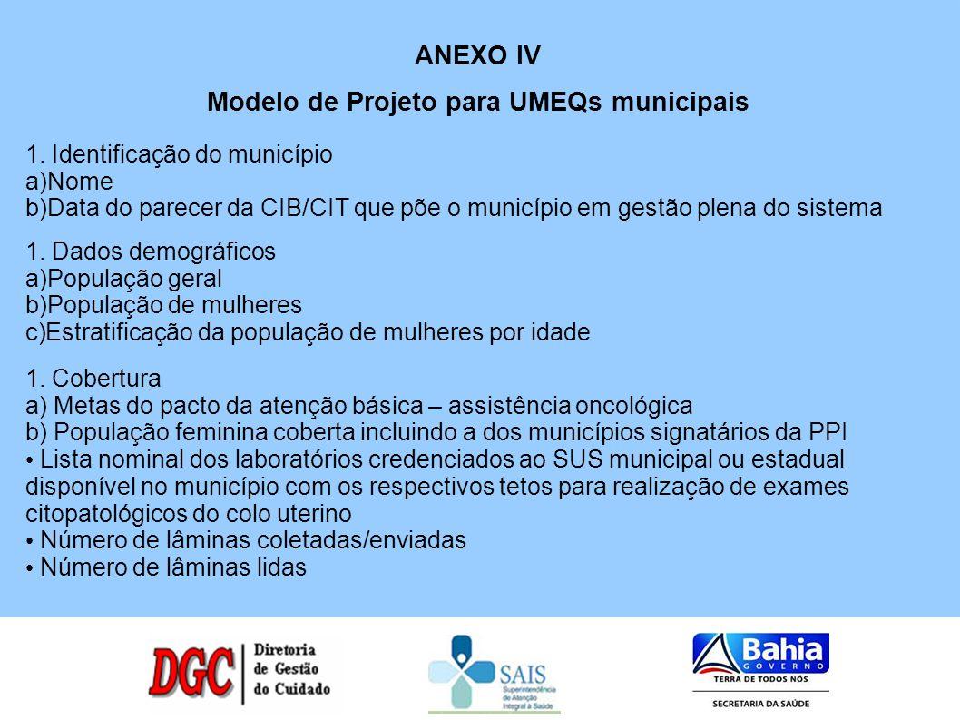 ANEXO IV Modelo de Projeto para UMEQs municipais 1. Identificação do município a)Nome b)Data do parecer da CIB/CIT que põe o município em gestão plena
