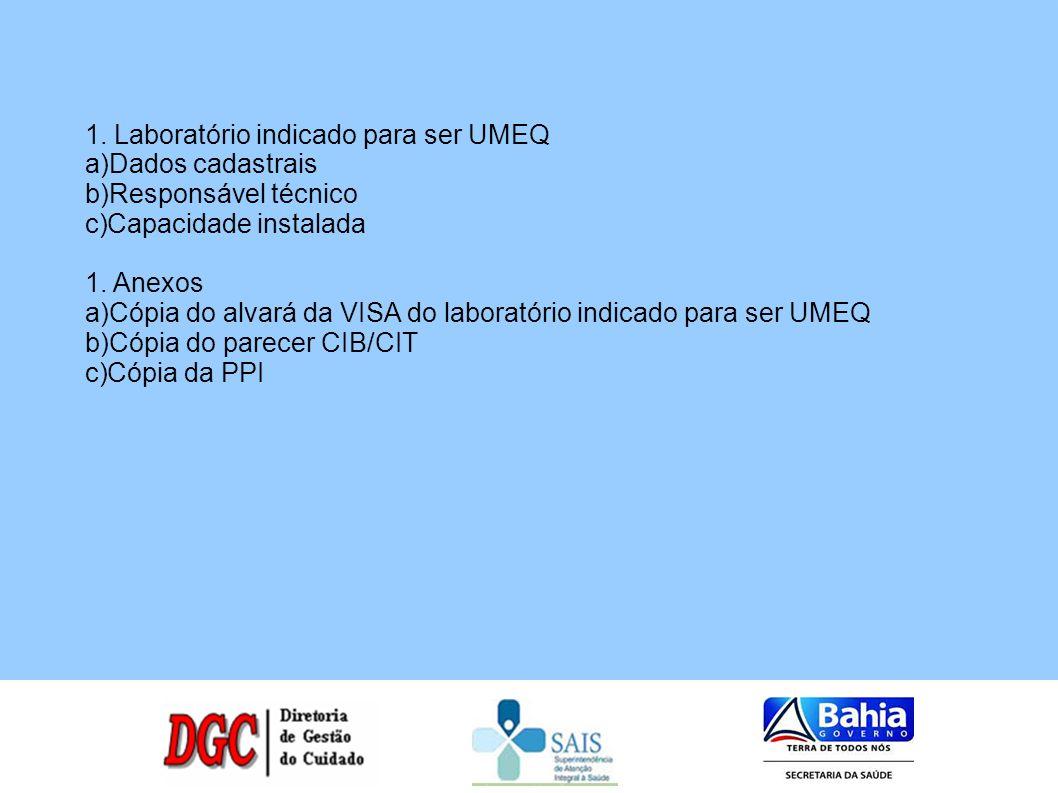 1. Laboratório indicado para ser UMEQ a)Dados cadastrais b)Responsável técnico c)Capacidade instalada 1. Anexos a)Cópia do alvará da VISA do laboratór