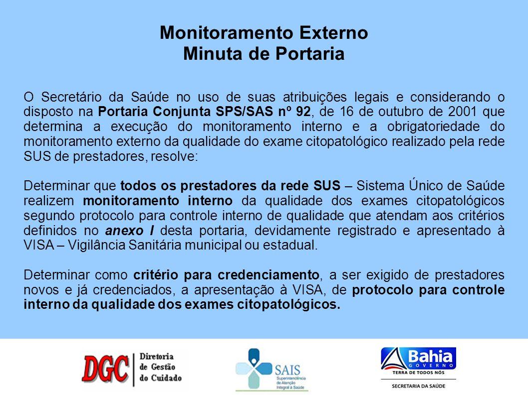 O Secretário da Saúde no uso de suas atribuições legais e considerando o disposto na Portaria Conjunta SPS/SAS nº 92, de 16 de outubro de 2001 que det