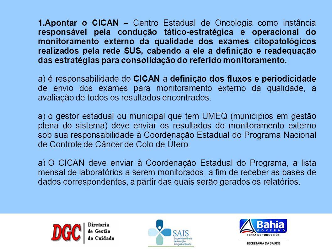 1.Apontar o CICAN – Centro Estadual de Oncologia como instância responsável pela condução tático-estratégica e operacional do monitoramento externo da