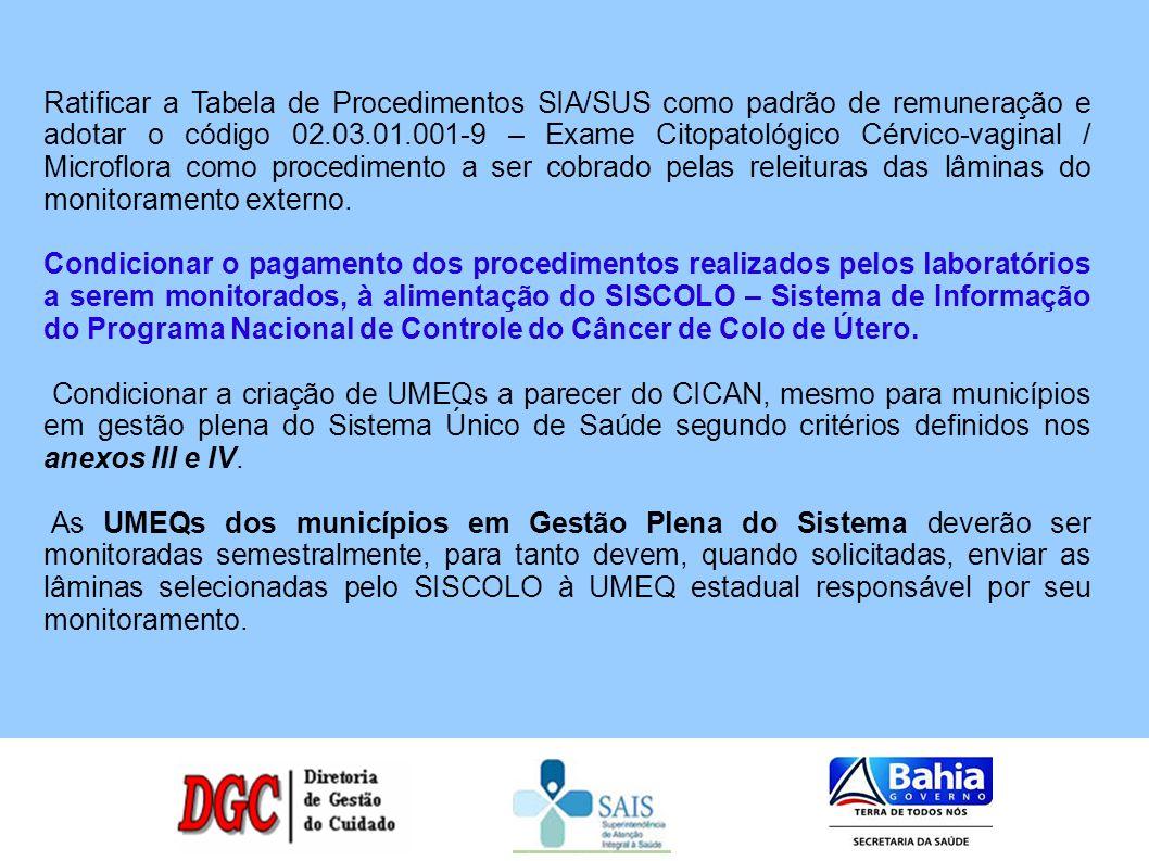 Determinar que o CICAN participe do monitoramento externo como unidade prestadora de serviço, devendo ser monitorado a cada seis meses pela Fundação Osvaldo Cruz ou pela Universidade Federal da Bahia.