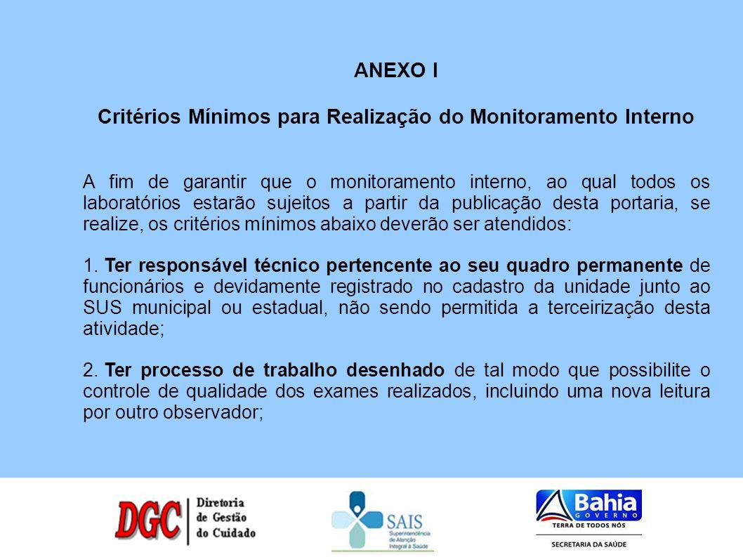 ANEXO I Critérios Mínimos para Realização do Monitoramento Interno A fim de garantir que o monitoramento interno, ao qual todos os laboratórios estarã