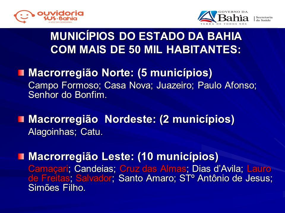 MUNICÍPIOS DO ESTADO DA BAHIA COM MAIS DE 50 MIL HABITANTES: Macrorregião Norte: (5 municípios) Campo Formoso; Casa Nova; Juazeiro; Paulo Afonso; Senh