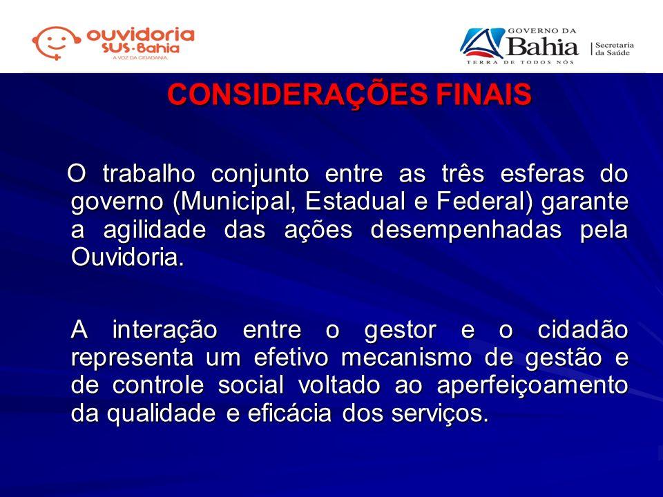 CONSIDERAÇÕES FINAIS O trabalho conjunto entre as três esferas do governo (Municipal, Estadual e Federal) garante a agilidade das ações desempenhadas
