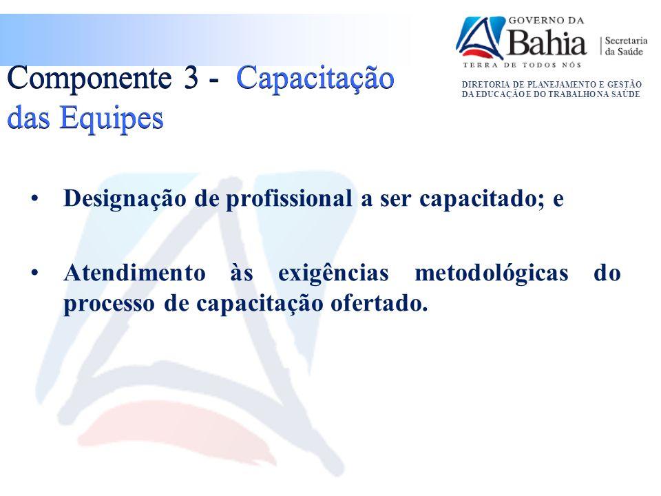 DIRETORIA DE PLANEJAMENTO E GESTÃO DA EDUCAÇÃO E DO TRABALHO NA SAÚDE Componente 3 - Capacitação das Equipes Designação de profissional a ser capacita