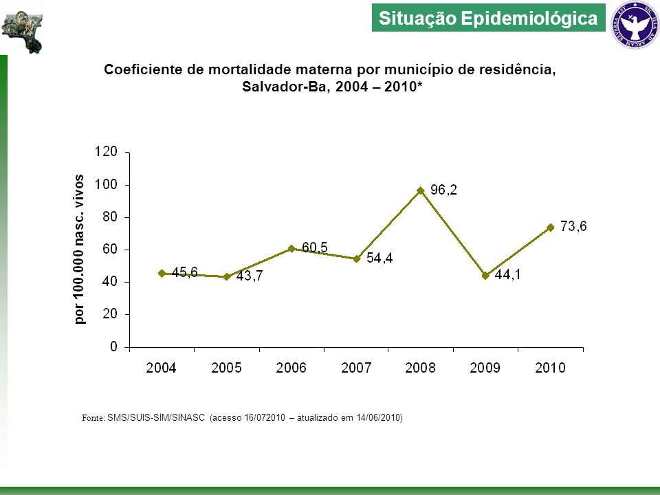 Proporcão de óbitos maternos por causas obtétricas segundo tipo, Salvador-Ba, 2010 Fonte: SMS/SUIS-SIM/ (acesso 16/072010 – atualizado em 14/06/2010) Situação Epidemiológica Sendo que dos cinco óbitos, dois foram por aborto