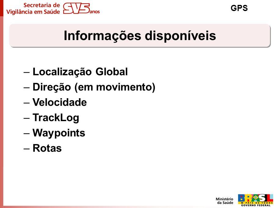 Informações disponíveis GPS –Localização Global –Direção (em movimento) –Velocidade –TrackLog –Waypoints –Rotas