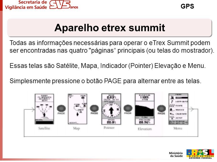 Aparelho etrex summit GPS Todas as informações necessárias para operar o eTrex Summit podem ser encontradas nas quatro
