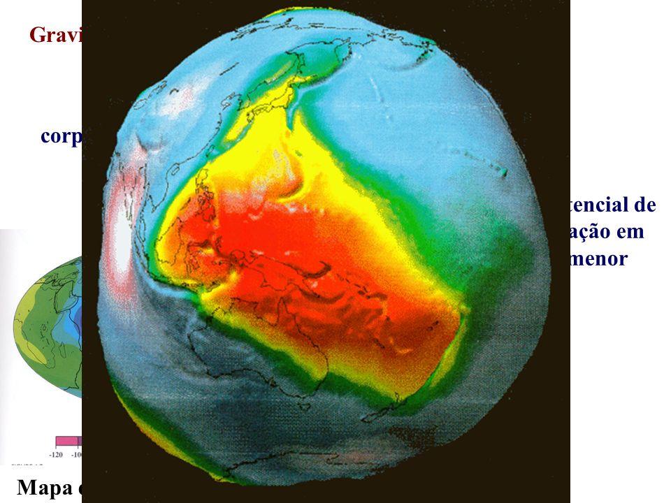Gravidade e rotação corpo esféricocorpo oblato geóide Superfície equipotencial de uma elipse em rotação em torno do seu eixo menor Mapa de gravidade (