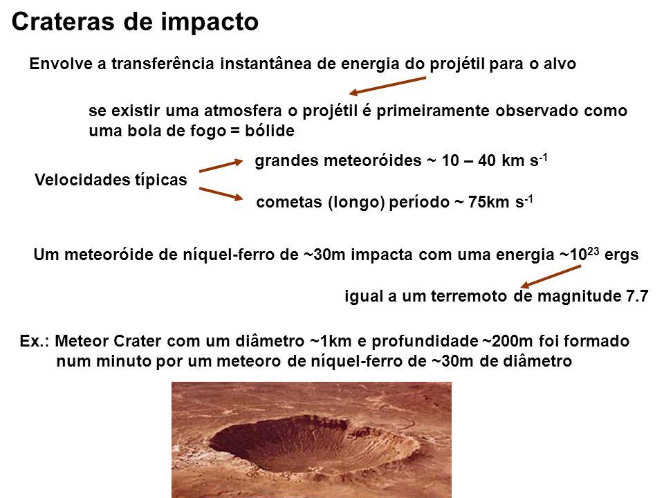 Crateras de impacto Envolve a transferência instantânea de energia do projétil para o alvo se existir uma atmosfera o projétil é primeiramente observa